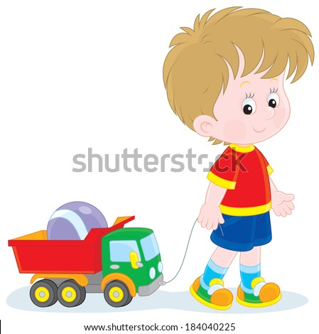 Boy walking with toys - stock vector