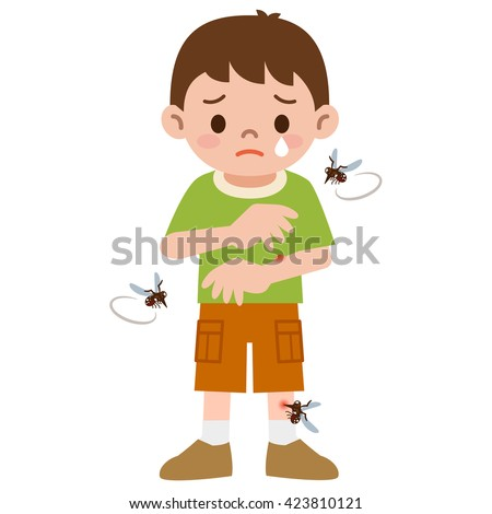 Boy was stabbed in the mosquito - stock vector