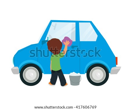 boy washing car vector illustration isolated on white background.
