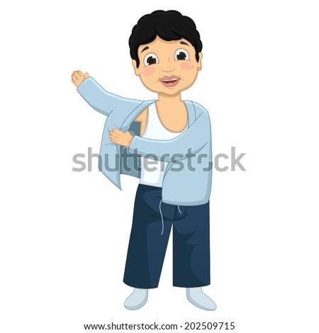 Boy Wearing Pajamas Vector Illustration - stock vector