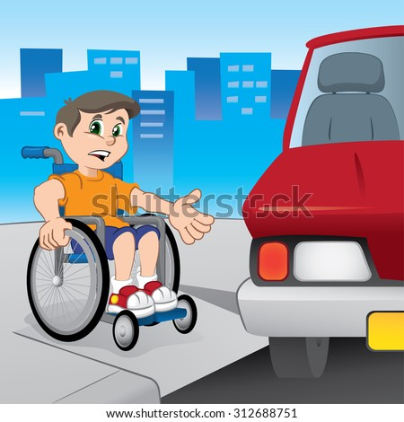 Boy wheelchair struggling to get around because the car parked in front of the ramp for the disabled. Ideal for educational and institutional materials. - stock vector
