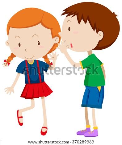 Kids Whispering Clipart