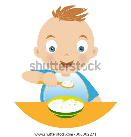 Boy with a bowl of porridge and holding a spoonful of porridge. Vector illustration - stock vector