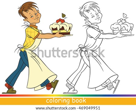 Boy With A Cake Coloring Page For Children Colored Sample Outline Drawing