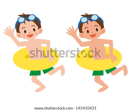 Boy with a float - stock vector