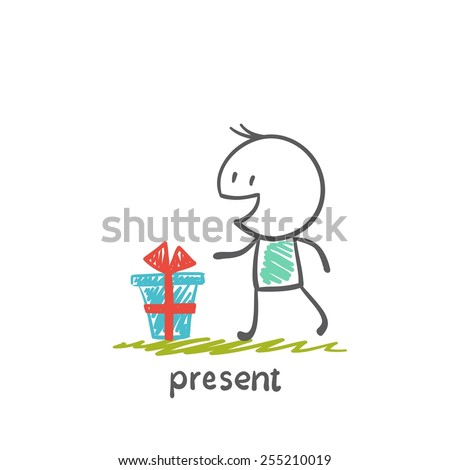 boy with a gift illustration - stock vector