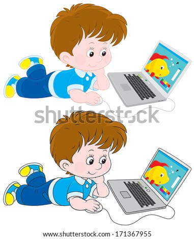 Boy with a laptop - stock vector