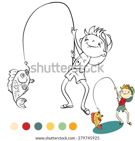 Boy with a small kitten fishing - stock vector