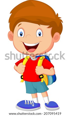 Boy with backpacks - stock vector