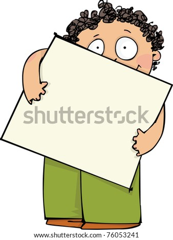 Boy with blank poster - stock vector