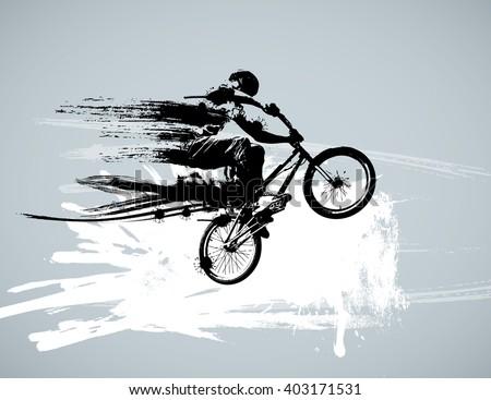 Boy with bmx, editable vector  - stock vector