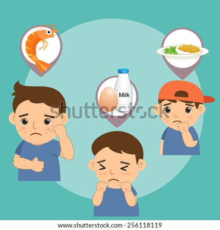 Boy with food allergie - stock vector