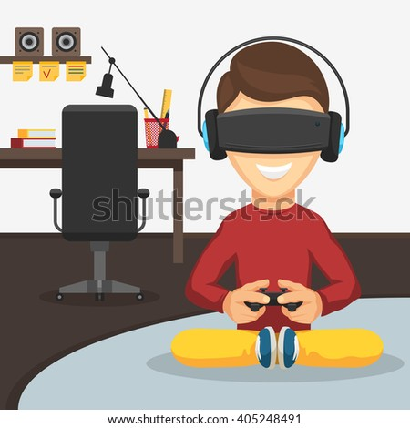 Boy with game controller gamepad in virtual reality glasses and headphones. Virtual reality playing video games keeps the joystick in his hands. Vector cartoon illustration - stock vector