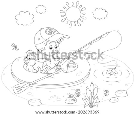 Boy with his pup in an inflatable boat fishing - stock vector
