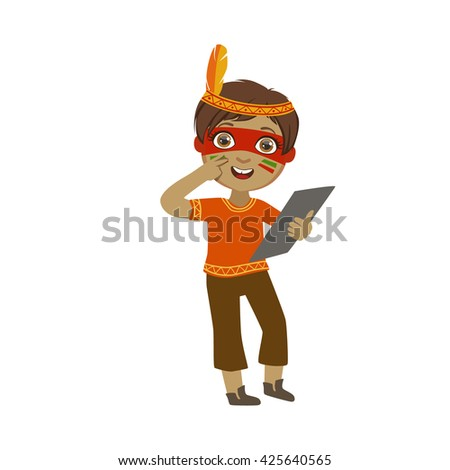 Boy With Indian Make Up Bright Color Cartoon Childish Style Flat Vector Drawing Isolated On White Background - stock vector