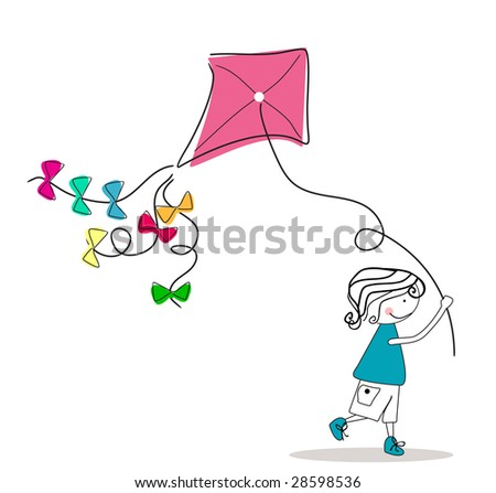 boy with kite - stock vector
