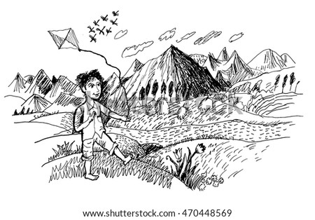 Boy with kite over landscape background vector illustration. On a background high mountains and river. Hand drawn vector llustration realistic sketch