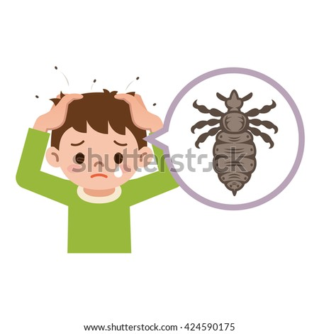 Boy with lice. Illustration of a boy with lice on his head. - stock vector