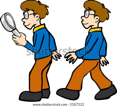 Boy with magnifying glass - stock vector
