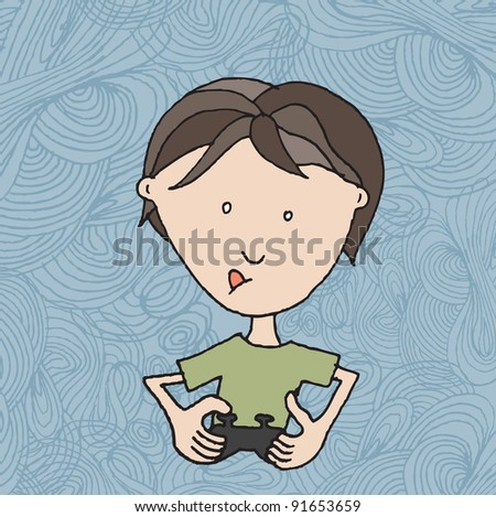 Boy with video game
