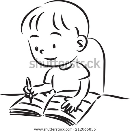 Boy Reading Stock Vector 286944761 - Shutterstock