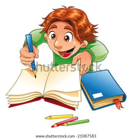 Boy writing and drawing. Funny cartoon and vector character