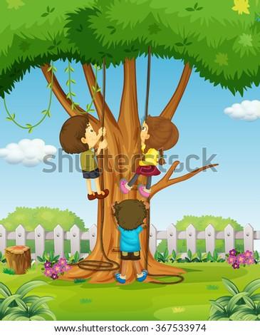 Kid Climbing Tree Clipart