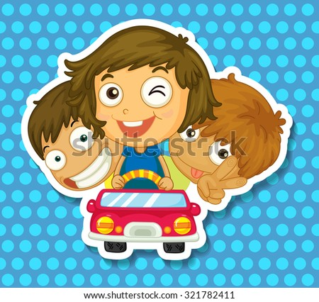 Boys and girl riding in car illustration