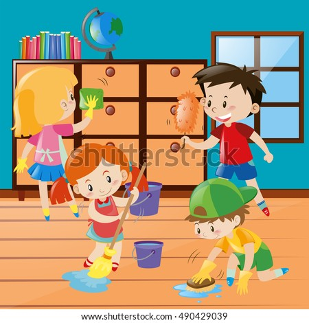 Children Help Cleaning Classroom Illustration Stock Vector ...