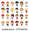 Boys and girls. Funny cartoon and vector isolated characters - stock photo