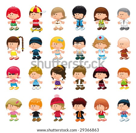 Boys and girls. Funny cartoon and vector isolated characters - stock vector
