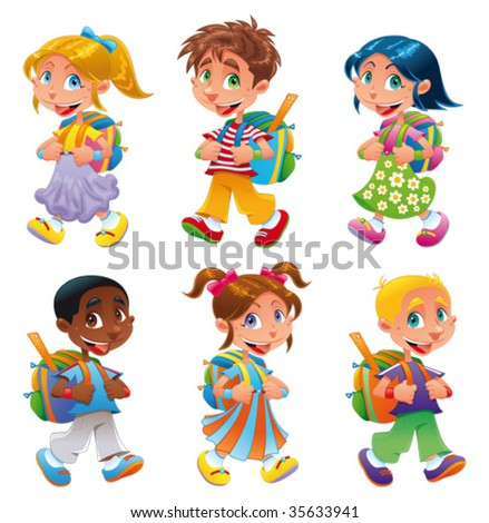 Boys and girls go to school. Funny cartoon and vector characters