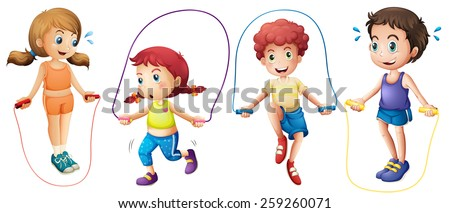 Boys and girls jumping on ropes - stock vector