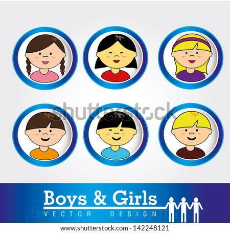 boys and girls over white background vector illustration