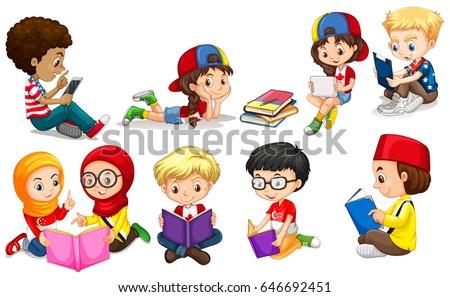 Boys and girls reading books illustration