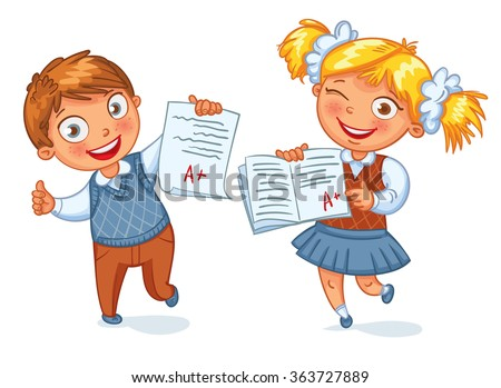 Boys and girls showing perfect test results. An A student. Funny cartoon character. Vector illustration. Isolated on white background - stock vector