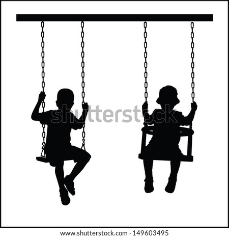 boys are swinging - stock vector