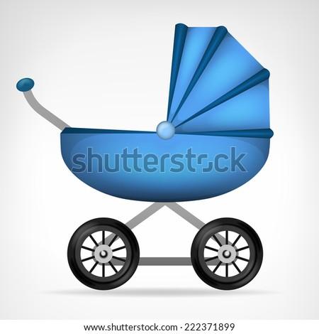 boys blue stroller object on white vector illustration - stock vector