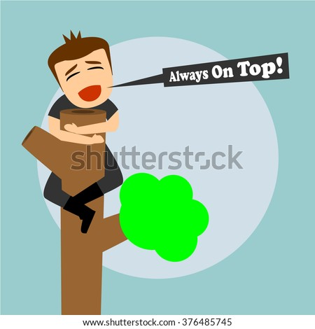 Boys cartoon character - always on top  - stock vector