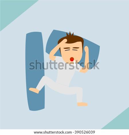 Boys Cartoon Character - sleep  - stock vector