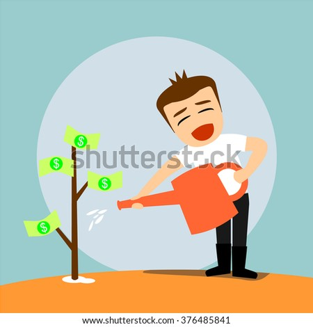 Boys cartoon character - watering the money tree - stock vector