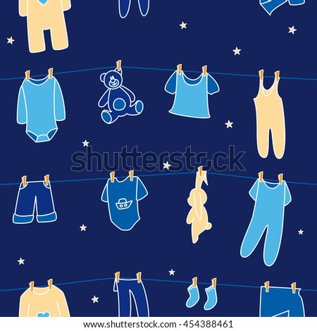 Boys' clothes and toys drying on the clothesline on sky background. Vector seamless pattern. - stock vector