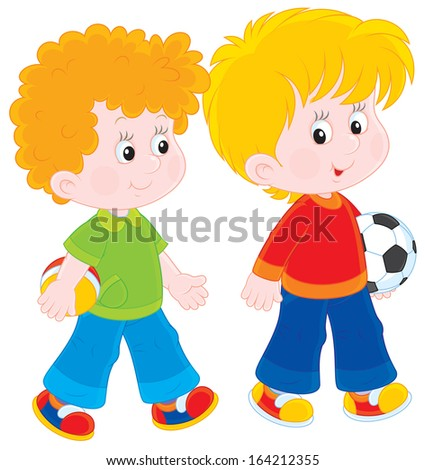 boys going to play football - stock vector