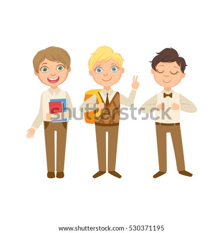 Boys In Brown Outfits Happy Schoolkids In Similar Collection School Uniforms Standing And Smiling Cartoon Character