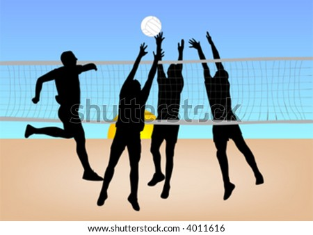 boys play volleyball on sand