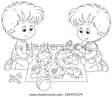 Boys play with a board game - stock vector