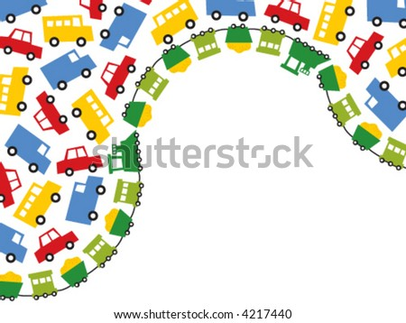 boys toys in primary colors (vector) - illustrated background with lots of copy space - stock vector