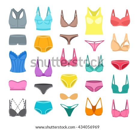 Bra design and panties styles vector flat colorful icons set. Female underwear cartoon collection. Lingerie fashion infographic elements. Woman wardrobe garments. Various clothes isolated symbols - stock vector