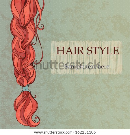 braided red hair vintage style poster - stock vector