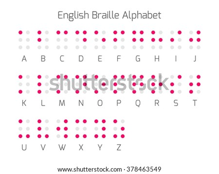 Braille alphabet letters. Braille is a tactile writing system used by people who are blind or visually impaired. Vector illustration. - stock vector